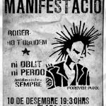 6 anys sense Roger. Manifestació dissabte 10 de desembre a les 19.30 h a plaça Lesseps (Barcelona)
