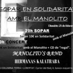 Dissabte sopar i concert en solidaritat amb el company Manolito