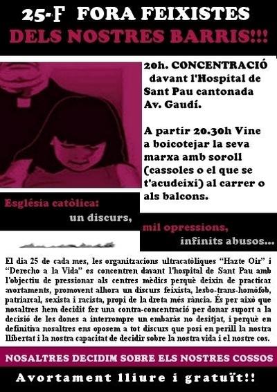 cartell manifestació contra la ultradreta catòlica