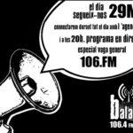 Programació especial de Ràdio Bala de Manresa per la Vaga
