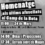 <strong>Avui, 24 de març a Badalona: Homenatge als cinc darrers afusellats al Camp de la Bota</strong>