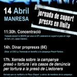 Dissabte, 14 d'abril, a Manresa suport als presos en lluita