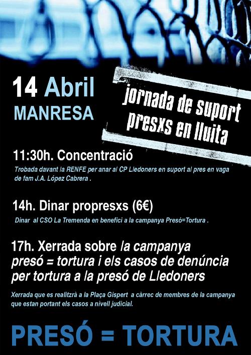 Cartell dels actes de suport als presos en lluita del 14 d'abril a Manresa
