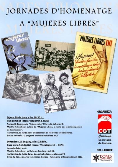 Cartell dels actes d'homenatge a Mujeres Libres, 2012