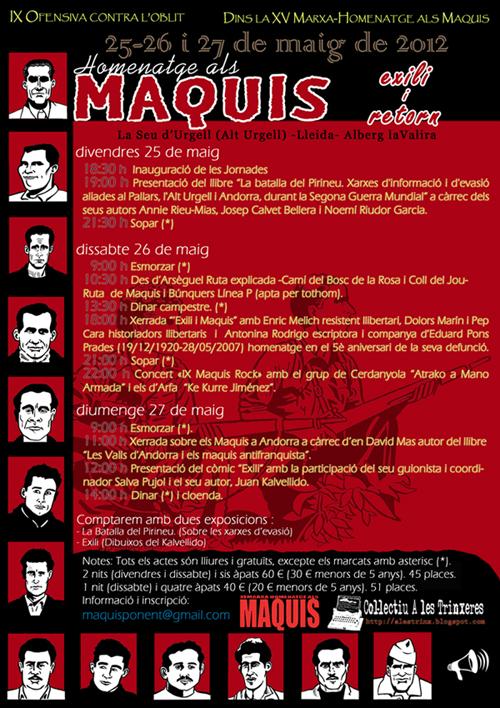 Cartell IX Ofensiva contra l'obrit, XV Marxa-homenatge als Maquis 2012