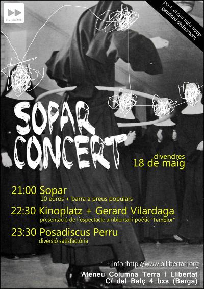Sopra, concert Kinoplatz i Gerard Vilardaga, més Pd Perru