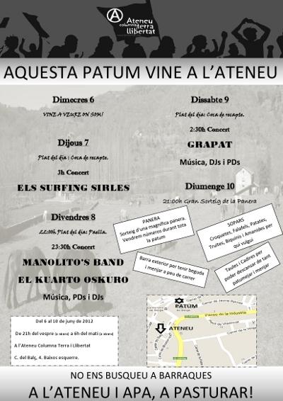 Cartell dels actes de la Patum 2012 a l'Ateneu