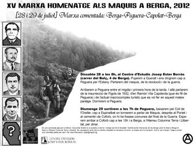 Cartell de la XV Marxa Homenatge als Maquis a Berga, 2012