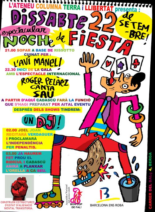 Cartell de la Noche de Fiesta del 22 setembre de 2012. Sopar amb risotto i actuació especial de Roger Pelàez