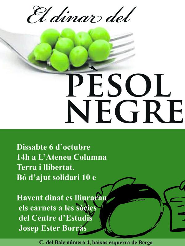 Cartell del dinar pro pesol negre del dissabte 6 d'octubre de 2012 a Berga, on també es repartiran els carnets als socis del cejeb