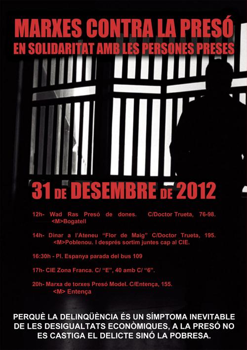 Cartell Marxes contra les presons del dia 31 de desembre de 2012