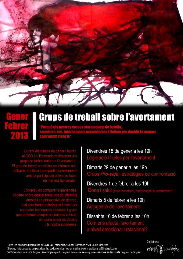 Cartell del grup de treball sobre l'avortament al CSO Trembenda de Manresa