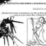 Concentració contra la visita d'Artur Mas i el Bisbe de Vic a Manresa