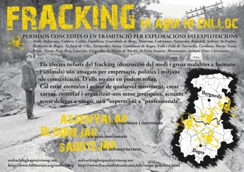 Cartell contra el fràcking al Berguedà i i al Bages
