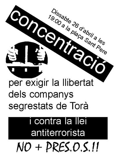 El Centre d'Estudis Josep Ester Borràs junt amb altres entitats i persones de Berga (Associació Columna Terra i Llibertat, Ateneu Llibertari, Casal Panxo…), vam solidaritzar-nos amb els presos de Torà i vam fer campanya en favor de la seva llibertat.