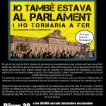 Dijous 20 de març: xerrada sobre les encausades pel bloqueig al Parlament i sopador a l'Ateneu la Sèquia