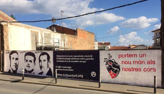 Mural memòria els assassinats a Berga el 1949 per col·laborar amb el maquis