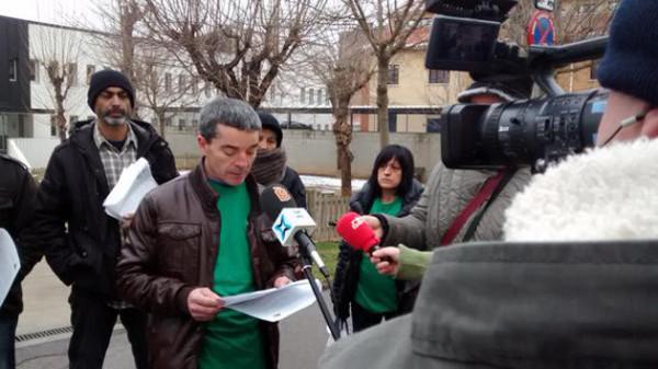 Roda de premsa de la PAHC Berguedà davant els jutjats de Berga.