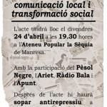 Ràdio Bala i el Pèsol Negre a la taula rodona de mitjans per la transformació social