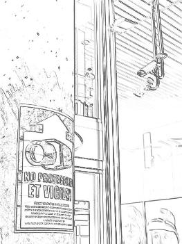 Cartell penjat al carrer Guimerà de Manresa a l'entrada d'una de les botigues amb video-càmeres