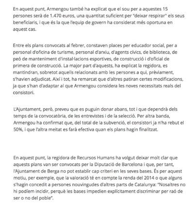 Aquí veiem clarament les contradiccions i mentides de la regidora Sílvia Armengou en diferents declaracions al Nació Berguedà.
