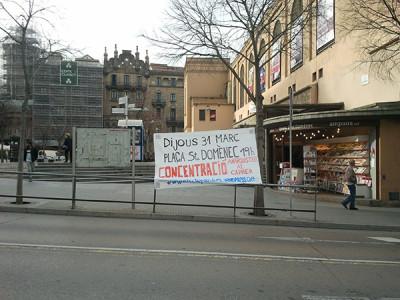 Pancarta de convocatòria a la concentració del dia 31