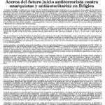 [Comunicat] Judici contra l'anarquisme a Bèlgica