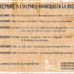 Activitats de novembre a l'Ateneu Anarquista la Ruda de Manresa