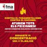 Dissabte 19: concentració a la Plaça Major de Manresa contra el fonamentalisme i el racisme