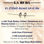 21 d'abril | 3r Aniversari de l'Ateneu Anarquista la Ruda ple d'activitats